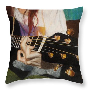 Guitar Drawing Throw Pillow by Savanna Paine