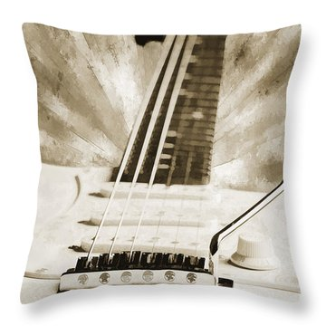 Guitar In Flight Painting Photograph In Sepia 3316.01 Throw Pillow