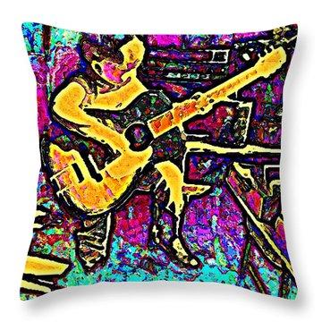 Guitar Man Blues Throw Pillow
