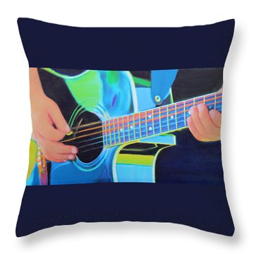 Throw Pillow featuring the painting Guitar Man by Deborah Boyd