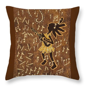 Guitar Player Throw Pillow by Katherine Young-Beck