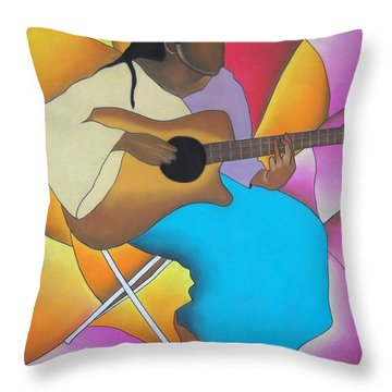 Guitar Player Throw Pillow by Sonya Walker