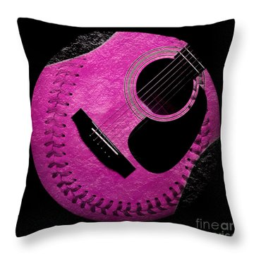 Guitar Raspberry Baseball Throw Pillow by Andee Design
