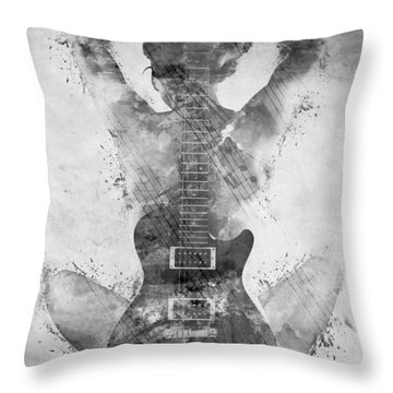 Guitar Siren In Black And White Throw Pillow by Nikki Smith