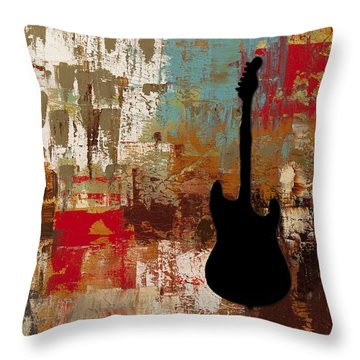 Guitar Solo Throw Pillow by Carmen Guedez
