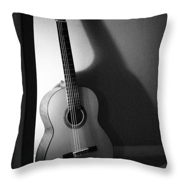 Guitar Still Life In Black And White Throw Pillow