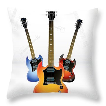 Guitar Style Throw Pillow