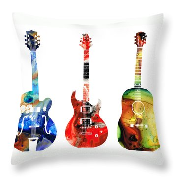 Guitar Threesome - Colorful Guitars By Sharon Cummings Throw Pillow