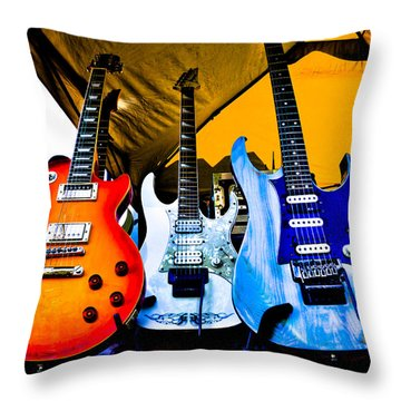 Guitar Trio Throw Pillow by David Patterson