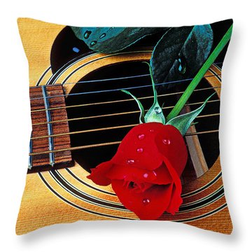 Guitar With Single Red Rose Throw Pillow by Garry Gay