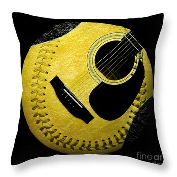 Guitar Yellow Baseball Square Throw Pillow by Andee Design