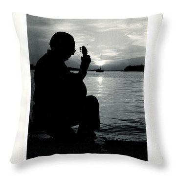 Throw Pillow featuring the photograph Guitarist By The Sea by The Art of Alice Terrill