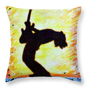 Guitarist Rockin' Out Silhouette Throw Pillow