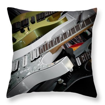Guitars For Play Throw Pillow by David Patterson