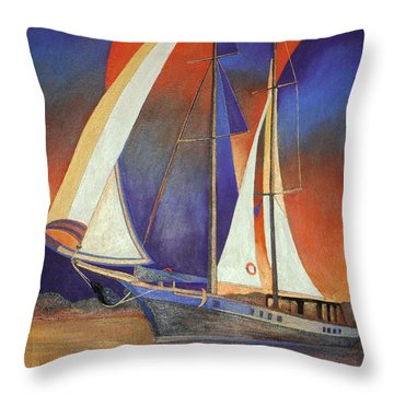 Throw Pillow featuring the painting Gulet Under Sail by Tracey Harrington-Simpson