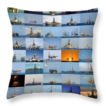 Gulf Of Mexico Oil Rigs Poster Throw Pillow