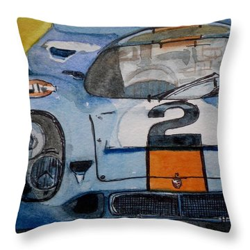 Throw Pillow featuring the painting Gulf Porsche by Anna Ruzsan