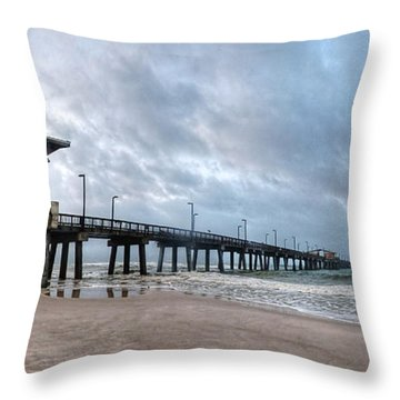 Throw Pillow featuring the digital art Gulf State Pier by Michael Thomas