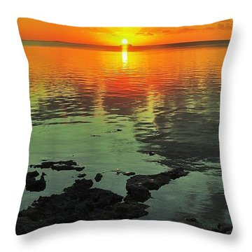 Gulf Sunset Throw Pillow by Benjamin Yeager