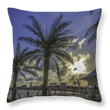 Gulfport Harbor View Throw Pillow by Brian Wright