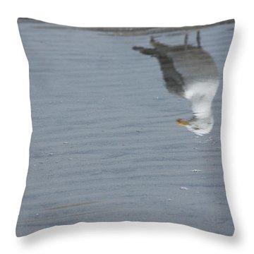 Gull At The Beach Throw Pillow
