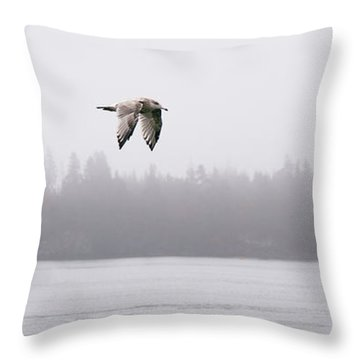 Gull In Flight Throw Pillow by Marty Saccone