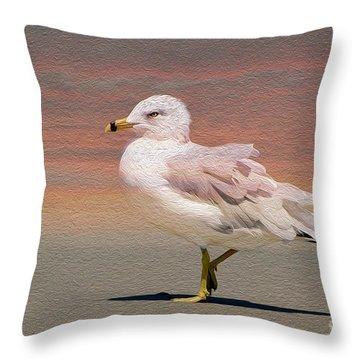 Gull Onthe Beach Throw Pillow by Kathy Baccari