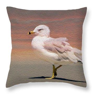 Gull Onthe Beach Throw Pillow