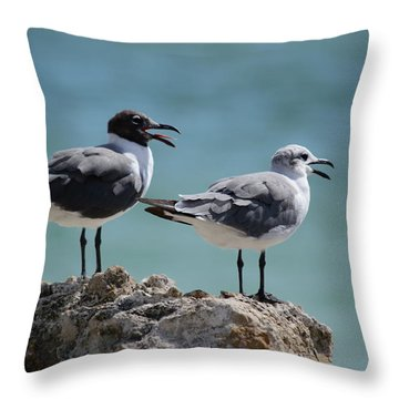 Gull Talk Throw Pillow