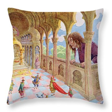 Gulliver At Lilliput Throw Pillow by Jacques Onfray de Breville
