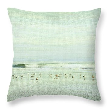 Gulls And Waves Green Throw Pillow