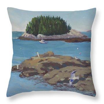 Gulls At Five Islands - Art By Bill Tomsa Throw Pillow