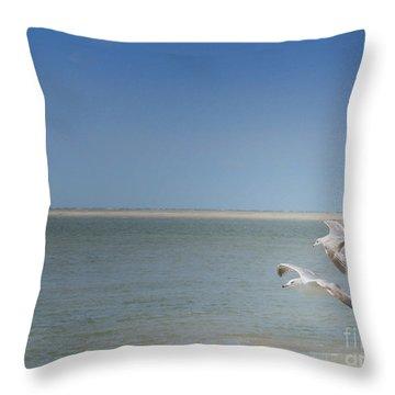 Throw Pillow featuring the photograph Gulls In Flight by Erika Weber