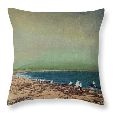 Gulls On The Seashore Throw Pillow