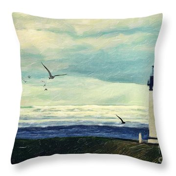 Gulls Way Throw Pillow by Lianne Schneider