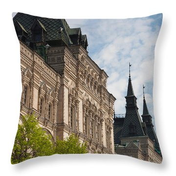 Gum Shopping Mall, Red Square, Moscow Throw Pillow by Panoramic Images