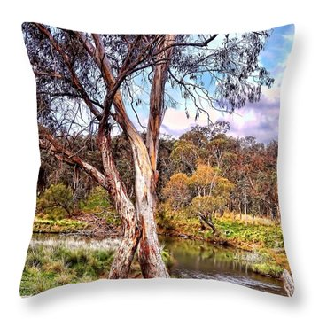 Throw Pillow featuring the photograph Gum Tree By The River by Wallaroo Images
