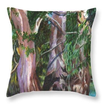 Gum Trees In Oz Throw Pillow by Carol Wisniewski