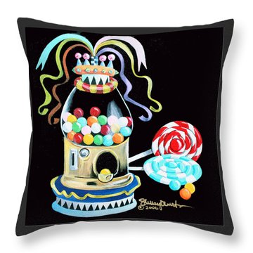 Gumball Machine And The Lollipops Throw Pillow