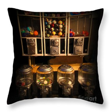 Gumball Memories - Row Of Antique Vintage Vending Machines - Iconic New York City Throw Pillow by Miriam Danar