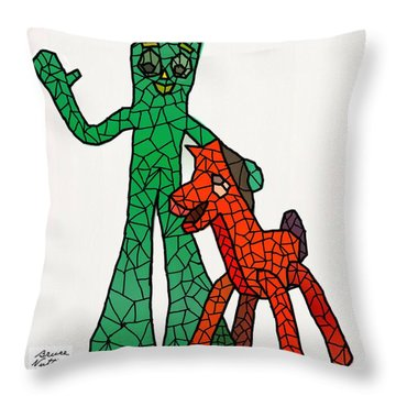 Gumby And Pokey Not For Sale Throw Pillow by Bruce Nutting