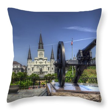 Gun General And God Throw Pillow by Greg and Chrystal Mimbs