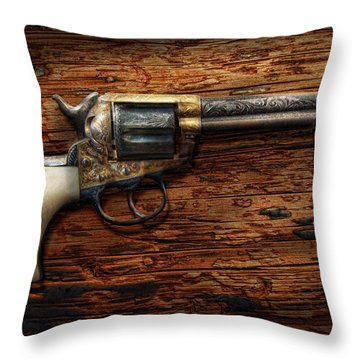 Gun - Police - True Grit Throw Pillow by Mike Savad