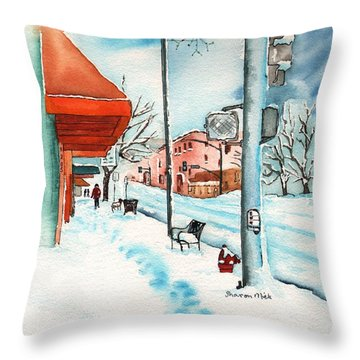 Gurley Street Prescott Arizona On A Cold Winters Day Western Town Throw Pillow