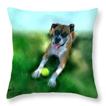 Gus The Rescue Dog Throw Pillow by Colleen Taylor