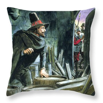 Guy Fawkes, From Peeps Into The Past Throw Pillow