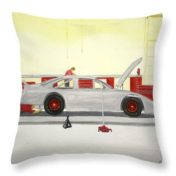 Guys Back At The Shop Throw Pillow