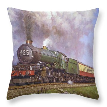 Gwr King Class On Dainton Bank. Throw Pillow by Mike  Jeffries