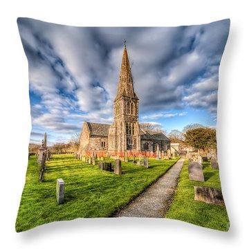 Gwyddelwern Church Throw Pillow by Adrian Evans