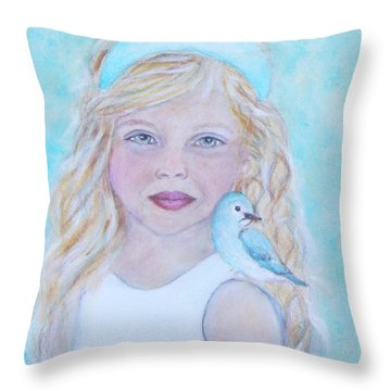 Gwyneth Little Earth Angel Of Happiness Throw Pillow by The Art With A Heart By Charlotte Phillips